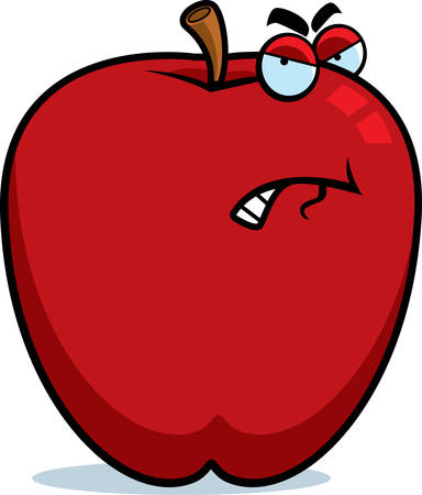 A cartoon apple with an angry expression.