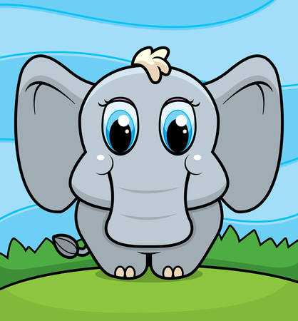 A happy cartoon baby elephant standing and smiling.