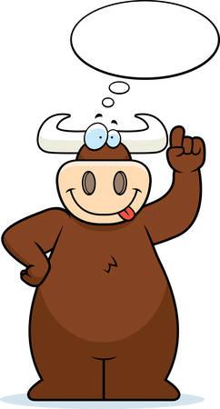 A happy cartoon bull thinking and smiling.