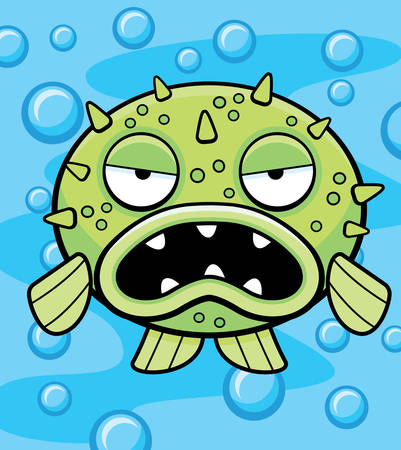 pez globo: Un pez globo de dibujos animados con una expresión enojada.