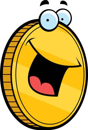 Een cartoon gouden munt glimlachen en gelukkig. Stock Illustratie