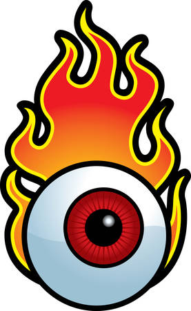 A cartoon red eyeball surrounded by flames.