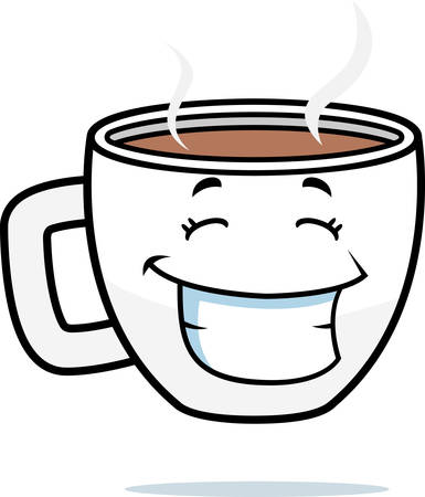 A cartoon cup of coffee smiling and happy. Çizim
