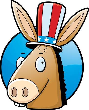 A cartoon icon with a democratic donkey smiling. Vector
