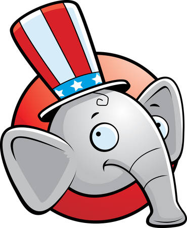 A cartoon icon with a republican elephant smiling. Illustration