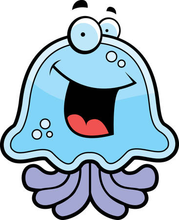 A cartoon blue jellyfish smiling and happy.