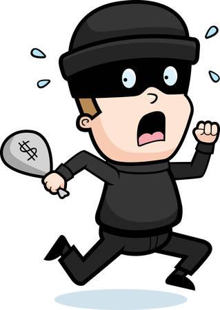 chased: A cartoon kid burglar running in fear.