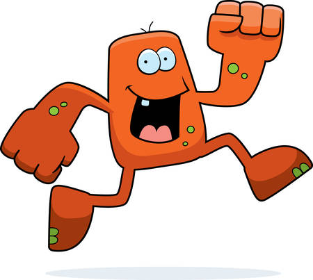 A happy cartoon monster running and smiling.