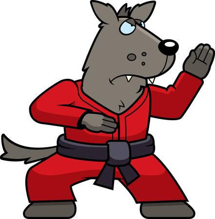 Een cartoon wolf doet karate in een gi.
