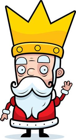 A little cartoon king in a crown waving. Ilustrace