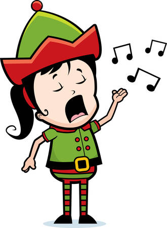 A cartoon Christmas elf singing a song.