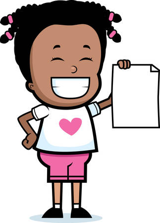 accomplish: A happy cartoon girl holding a piece of paper.
