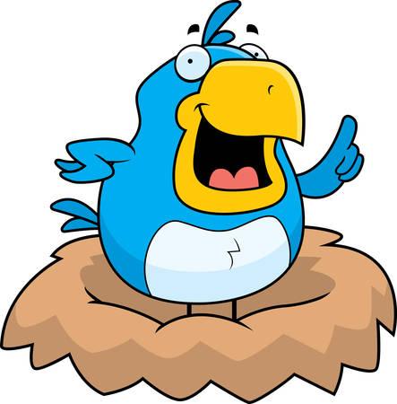 chirp: A happy cartoon blue bird in a nest. Illustration