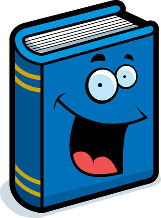 A cartoon blue book smiling and happy. Vector