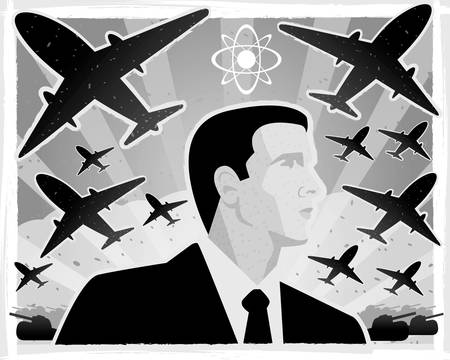 atomic bomb: A black and white illustration with a war theme.