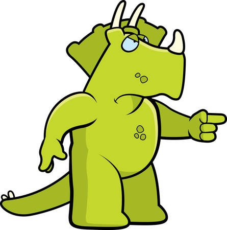triceratops: A cartoon dinosaur with an angry expression. Illustration