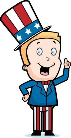 A happy cartoon patriotic boy with an idea.