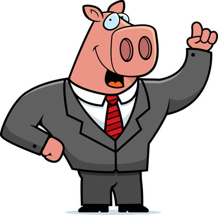 A happy cartoon pig businessman in a suit.