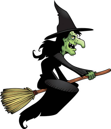 broom: A cartoon witch flying on a broomstick.
