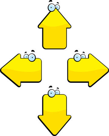 Several yellow cartoon directional arrows with eyes.