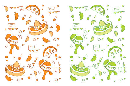 멕시코 테마와 원활한 반복 만화 패턴. 일러스트