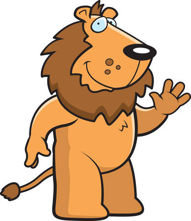 greet: A happy cartoon lion waving and smiling. Illustration