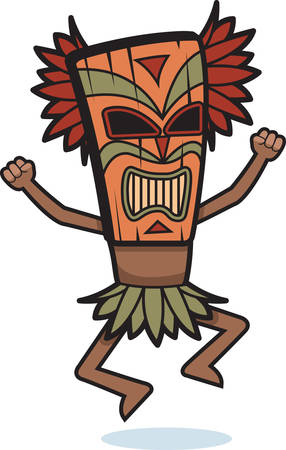 tiki: A cartoon witch doctor with a mask on.