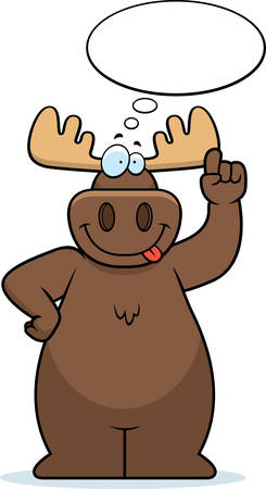 A happy cartoon moose thinking and smiling.