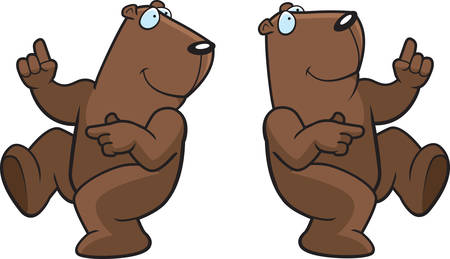 A happy cartoon groundhog dancing and smiling. Vector