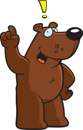 A happy cartoon bear with and idea.