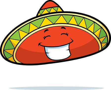A cartoon Mexican sombrero smiling and happy. Stock fotó - 26425426