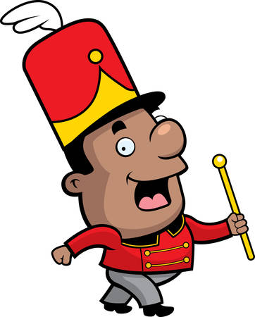marching band: A happy cartoon marching band conductor marching and smiling.