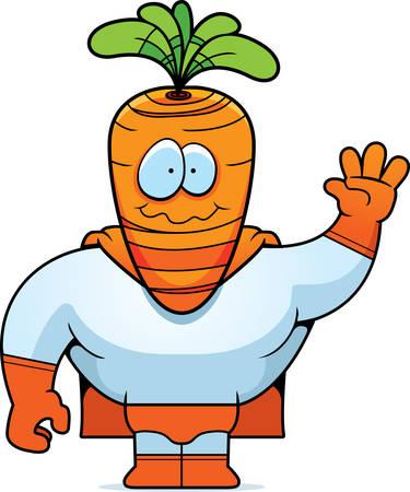 A happy cartoon carrot superhero waving and smiling.