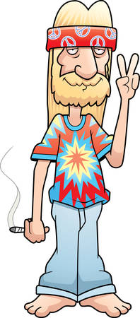A cartoon hippie making the peace sign and smiling.