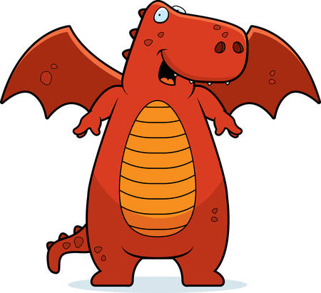 A happy cartoon dragon standing and smiling. Vector