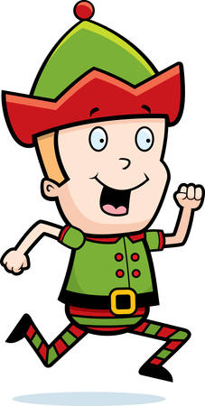 A happy cartoon Christmas elf running and smiling.