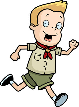 A happy cartoon boy scout running and smiling.
