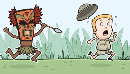 A cartoon explorer being chased by a witch doctor.