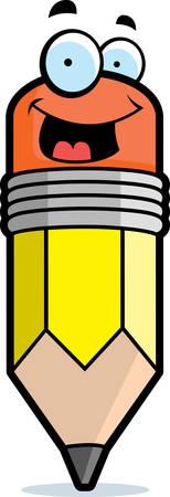 笑顔と幸せの黄色漫画鉛筆。  イラスト・ベクター素材