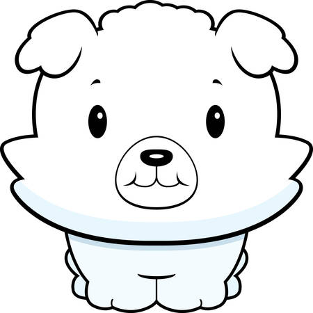 frise: A baby cartoon dog standing on four legs. Illustration