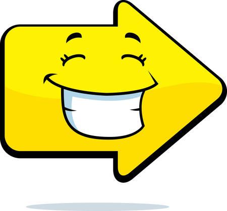 A cartoon yellow arrow happy and smiling.