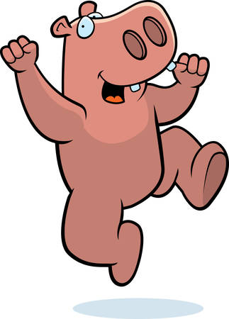 hurray: A happy cartoon hippo jumping and smiling.