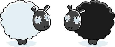 異なる 2 つの色は立って漫画羊。