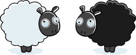 Two different colored cartoon sheep standing up.