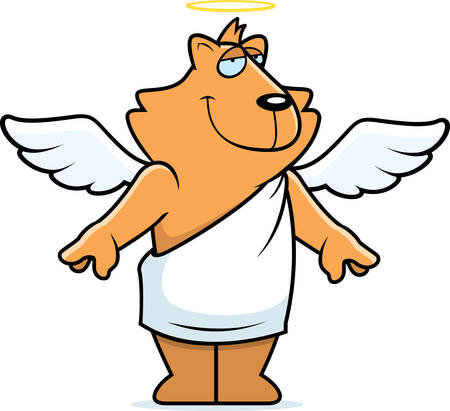 A cartoon cat with angel wings and halo.