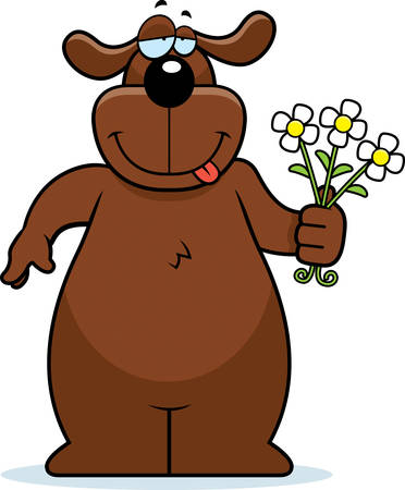 A happy cartoon dog with a bouquet of flowers. 版權商用圖片 - 26468384