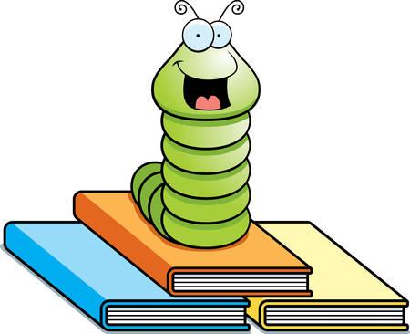 A happy cartoon worm on top of books. Illusztráció