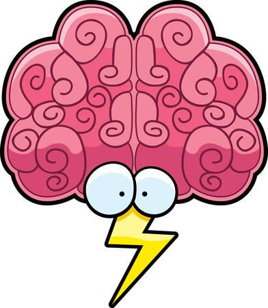 Een cartoon hersenen met ogen en een bliksemschicht.