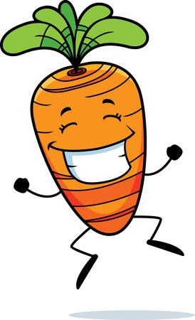 cartoon carrot: A happy cartoon carrot jumping and smiling.