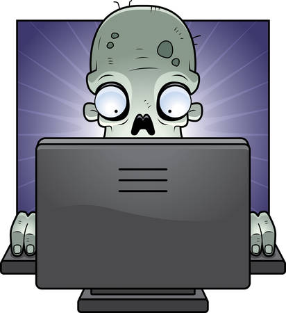 A cartoon zombie in front of a computer screen. Vector
